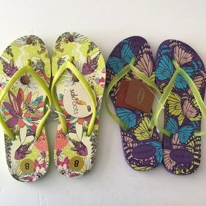 TWO PAIR Flip flops size 8